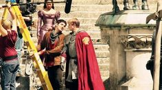 Merlin, on set