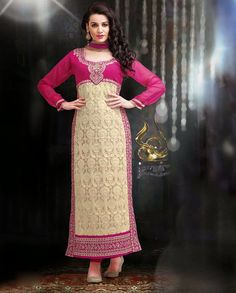 Beige and pink long suit with thread embroidery   1. Beige and pink embroidered georgette long suit2. Comes with matching bottom and dupatta3.Can be stitched upto size 42  inches