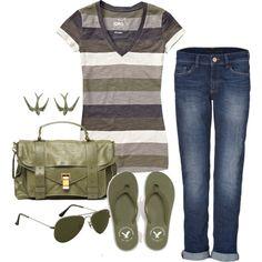 dVb Victoria Beckham jeans, American Eagle Outfitters flip flops and Proenza Schouler shoulder bags