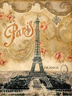 This print inspired by the Eiffel Tower and Paris combines the magic of the city with a romantic vintage wallpaper from the turn of the century. Even the typeface is an Art Nouveau design still found all over Paris even today. Vintage Paris, Retro Poster, Vintage Travel Posters, Vintage Postcards, Vintage Pictures, Vintage Images, Paris Pictures, Etiquette Vintage, Jugendstil Design