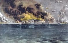The Shelling of a Fort Which Began the Civil War: Bombardment of Fort Sumter, as depicted in a lithograph by Currier and Ives