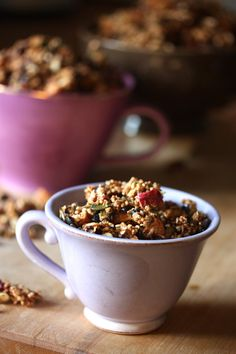 Granola: sprouted quinoa, oats & buckwheaties; dried fruits & berries; nuts; pumpkin & sesame seeds; shredded coconut.