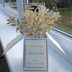 Golden Wedding Anniversary Pop Up Box Card.