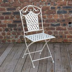 White Metal Outdoor Chair Antique Vintage Garden Seat Folding Patio Furniture for sale online Pallet Furniture For Outside, White Patio Furniture, Small Living Room Furniture, Grey Bedroom Furniture, Patio Furniture Cushions, Living Room Furniture Arrangement, Trendy Furniture, Art Deco Furniture, Retro Furniture