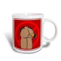 3dRose Butts tooting your horn 1 red sign, Ceramic Mug, 11-ounce