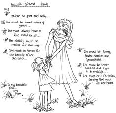 Beautiful girlhood Ideals colouring page - delightful!