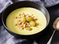 "In the childhood snack called ants on a log, celery lightens up rich peanut butter and chewy raisins with its vegetal crunch. In this soup, affectionately named ""ants on a bog,"" creamy celery purée is lightened by tart pickled grapes and an assertive peanut crumble."