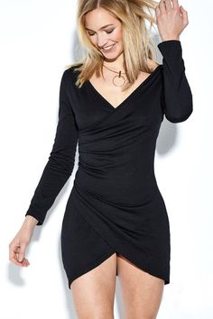 25658f8cbf Black V-neck Long Sleeves Sexy Bodycon Dress Dress P