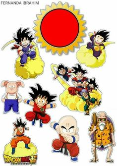 Dragon Ball Z: Free Printable Cake and Cupcake Toppers. - Oh My Fiesta! for Geeks Goku Birthday, Dragon Birthday, Bolo Naruto, Cupcake Cakes, Cupcake Toppers, Candy Bar Labels, Anniversaire Harry Potter, Bird Party, Maleficent