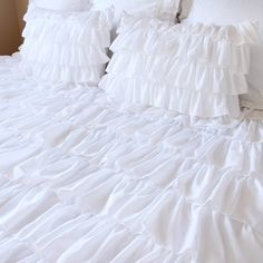 Pure White Waterfall Ruffle Duvet Cover Set by LovelyDecor on Etsy Country Bedding Sets, Dorm Bedding Sets, Cheap Bedding Sets, Queen Bedding Sets, Luxury Bedding Sets, Comforter Sets, King Comforter, Affordable Bedding, Luxury Bedrooms
