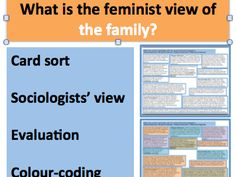 This GCSE or A-Level lesson explores the Feminist perspective's view of the family. The lesson includes an introduction by the teacher, a challenging CARD . What Is Sociology, Third Grade Science, Material Science, Developmental Psychology, Ap Biology, Sorting Activities, Study Skills, Classroom Displays, Science Classroom