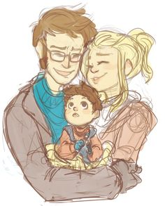 widdlez:   He'd finally gotten what he'd wanted. Another chance at a family.   a messy messy Tyler-Noble family doodle cause I can't seem to draw anything else not Who related today. Also another tentoo headcanon of mine is that after the Doctor wearing glasses for so long just to wear them our human Doctor actually needs glasses in the end. please don't mind me and my mess. I already hate this why am I posting it?!