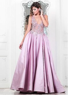 Buy discount Marvelous Tulle & Taffeta V-Neck A-Line Evening Dresses With Embroidery at Dressilyme.com