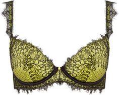 Myla Aimee Pink Gossip Green Silk Padded Plunge Bra #lingerie
