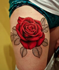 This rose is amazing. Don't like the leaves though. 55 Thigh Tattoo Ideas | Cuded