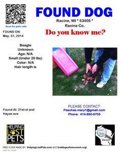 #FOUNDDOG 5-1-14 #RACINE #WI #BEAGLE 21ST & HAYES AV peaches.mary1@gmail.com 414-690-6705 https://m.facebook.com/story.php?story_fbid=10202019145663769&id=1339897655