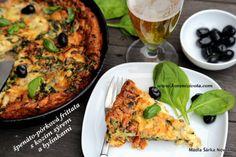 Špenáto-pórková frittata s kozím sýrem a bylinkami snadno a chutně