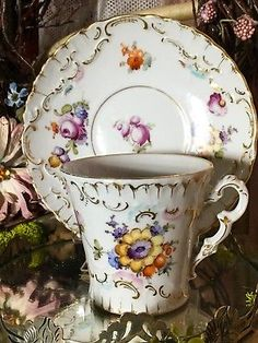 Old Dresden Porcelain Floral Tea Cup and Saucer