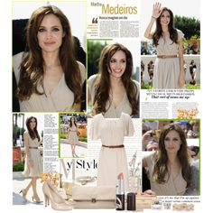 Angelina Jolie - natural dress and pumps with slim brown belt.  Great spring outfit.