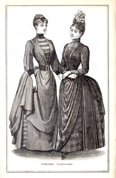 Women's fashions (with HATS), four views, from Peterson's Magazine, October 1887