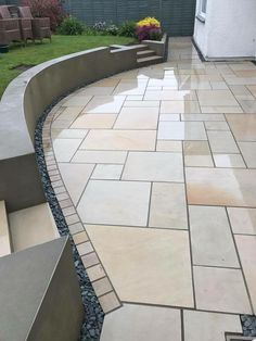 Mixed Size Mint Smooth Sawn & Honed Patio Packs & £ 445 inc VAT & FREE Nationwide Delivery & Cheshire Sandstone Back Garden Design, Modern Garden Design, Backyard Garden Design, Backyard Landscaping, Garden Villa, Landscaping Ideas, Backyard Designs, Garden Slabs, Garden Paving
