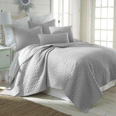 Amazon.com - Bordeaux Light Grey King Quilt Set - Gray Quilt