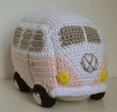 """""""Amigurumi Time, """"C'mon grab your friends, We'll go to very distant lands. With a Crochet Hook and a Ball of Yarn, the fun will never end…. It's Amigurumi Time!"""" Free Crochet Pattern for this sweet VW Bus: By Wilma for EpsieJ. Crochet Car, Cute Crochet, Crochet For Kids, Crochet Crafts, Crochet Dolls, Yarn Crafts, Crochet Projects, Crocheted Toys, Crochet Pillow"""