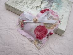 RomanticBeckonings Heart Shaped Cottage Country Chic Dried Lavender Sachet Pink Rose Floral Fabric Filigree Gold Button Decor Red Ribbon by RomanticBeckonings on Etsy