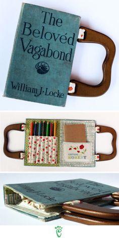 18. A broken 3-ring binder makes a cute art kit.