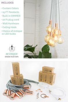 Plug in Pendant Light Cluster Choose 3 5 7 Pendants Plug In Chandelier, Plug In Pendant Light, Chandelier In Living Room, Modern Chandelier, Pendant Lamp, Pendant Lighting, Dim Lighting, Unique Lighting, Entryway Lighting