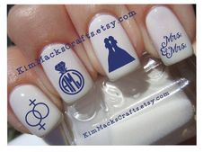 Lesbian Wedding waterslide nail decal set custom nail art 24 manicure pedicure water slide decal finger nails gay marriage lesbian marriage by KimMacksCrafts on Etsy https://www.etsy.com/listing/521026774/lesbian-wedding-waterslide-nail-decal