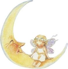 moon and little fairy Cresent Moon, Vintage Moon, Sun Moon Stars, Moon Pictures, Artists For Kids, Moon Magic, Beautiful Moon, Gif Animé, Imagines