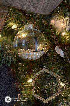 Homemade Pearl Monogram Christmas DIY Ornaments #michaelsmakers