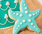 Turquoise Starfish Beach Theme Wedding Cookie Favors Aqua // 1 doz. // Star Fish Party Birthday Wedding Shower Boy Girl. $38.50, via Etsy.
