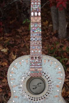 Ode to a Few of My Favorite Things  mosaic guitar by Sally Kinsey