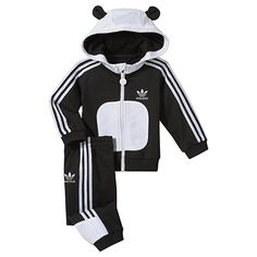 Kids Hooded Flock Panda Track Suit, black / white, pdp