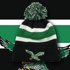 c5efd05d043 Philadelphia Eagles Throwback Bird Kelly Green Striped Knit Pom Beanie