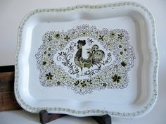 Gold and Brown Pennsylvania Dutch Rooster Tin Tray    Measures ... 8 1/2 x 6 1/2    For more Kitchen Items …