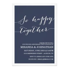 Navy Wedding Anniversary Invitations