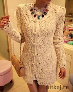 The cardigan spokes, is executed by zigzags\' the Thread - knitted things for your house, knitting by a hook, knitting by spokes, schemes of knitting Crochet Coat, Crochet Jacket, Crochet Clothes, Knit Cardigan Pattern, Crochet Fashion, Knit Dress, Knitwear, Sweaters For Women, Stitches