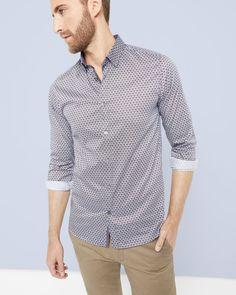 Diamond print shirt - Navy | Shirts | Ted Baker ROW