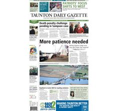The front page of the Taunton Daily Gazette for Thursday, Dec. 4, 2014.