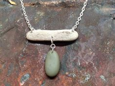 Lake Superior driftwood and beach stone necklace on Etsy, $30.00