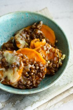Wheat Berries and sweet potato bake - avoid pearled wheat berry variety stripped of bran layer - go for hard red they contain the most protein.
