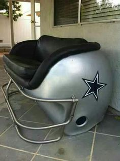 No info from previous pinner, and I can't track down the origins of this clever deck furniture for the ultimate Cowboys fan...