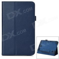 Flip-open Litchi Pattern PU Leather Case w/ Holder for 8'' Samsung Galaxy Tab 4 T330 - Dark Blue Price: $7.83