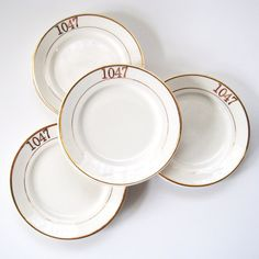 Bread Plate Set of Nine, Crooksville Stinthal China Dessert Side Plate White with Gold Trim, Masonic Lodge 1047 Dishes, Porcelain Dinnerware