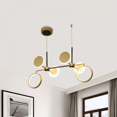 Retro 6 Bulbs Island Lighting Black/Gold Round Ceiling Lamp with Metallic Shade in Warm/White Light Chandeliers White Light, Warm White, Light, Ceiling Pendant Lights, Ceiling Lamp, Pendulum Lights, Suspended Lighting Fixtures, Chandelier Lighting, Ceiling Lights