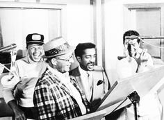Frank Sinatra, Bing Crosby, Dean Martin, and Sammy Davis, Jr. in the studio recording for their film Robin and the 7 Hoods. (1964)