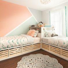 Color blocks for girls' bedroom – Je Décore – little girl rooms Baby Bedroom, Baby Room Decor, Room Decor Bedroom, Girls Bedroom, Bed Room, Kids Bedroom Designs, Kids Room Design, Selling Furniture, Room Wallpaper
